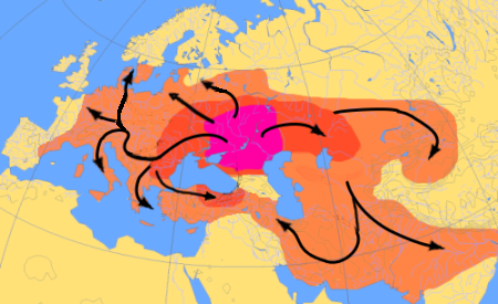 Map showing the expansion of the Proto-Indo-Europeans.