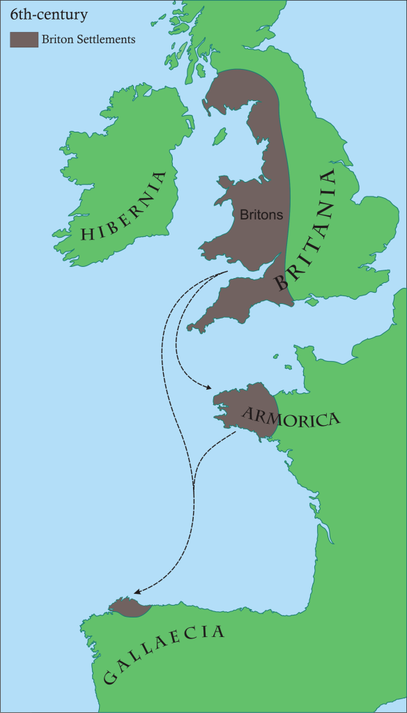 Briton Settlements in the 6th century AD.