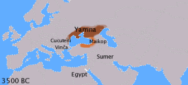 Map of the Indo-European homeland and adjacent cultures.