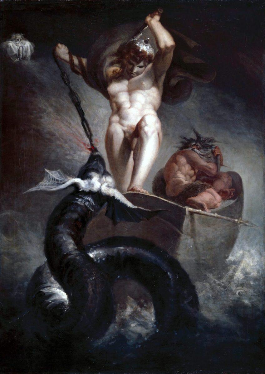 Thor pulls up the Midgard Serpent