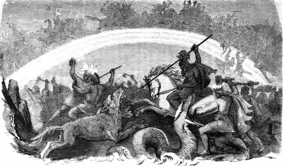 Depiction of Ragnarok and the gods fighting against the giants.