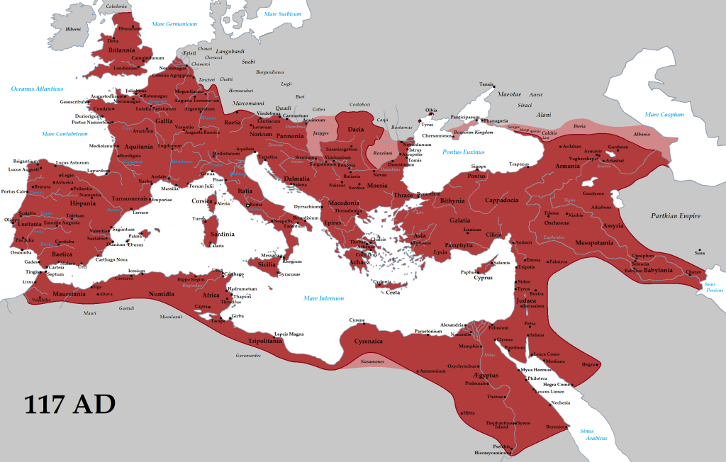 The Roman Empire at its greatest extent.