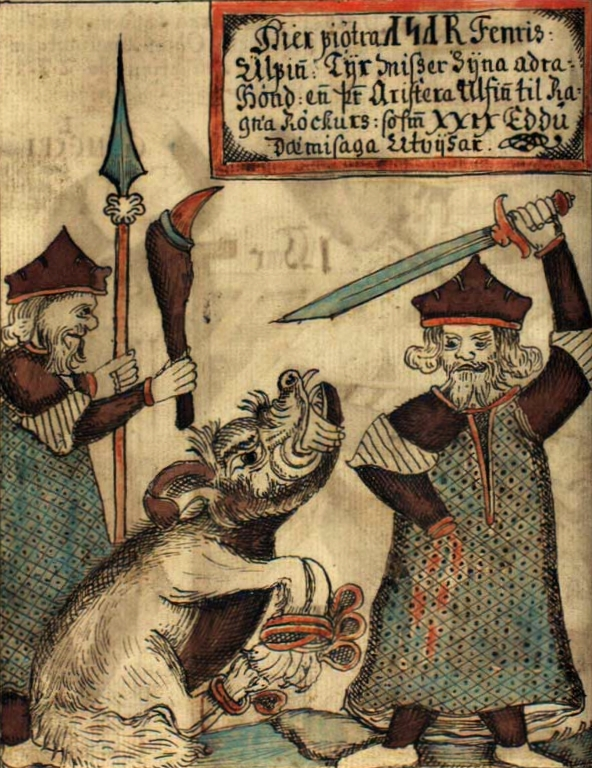 Tyr's hand being bitten off by the wolf Fenrir, from a 18th century Icelandic manuscript.